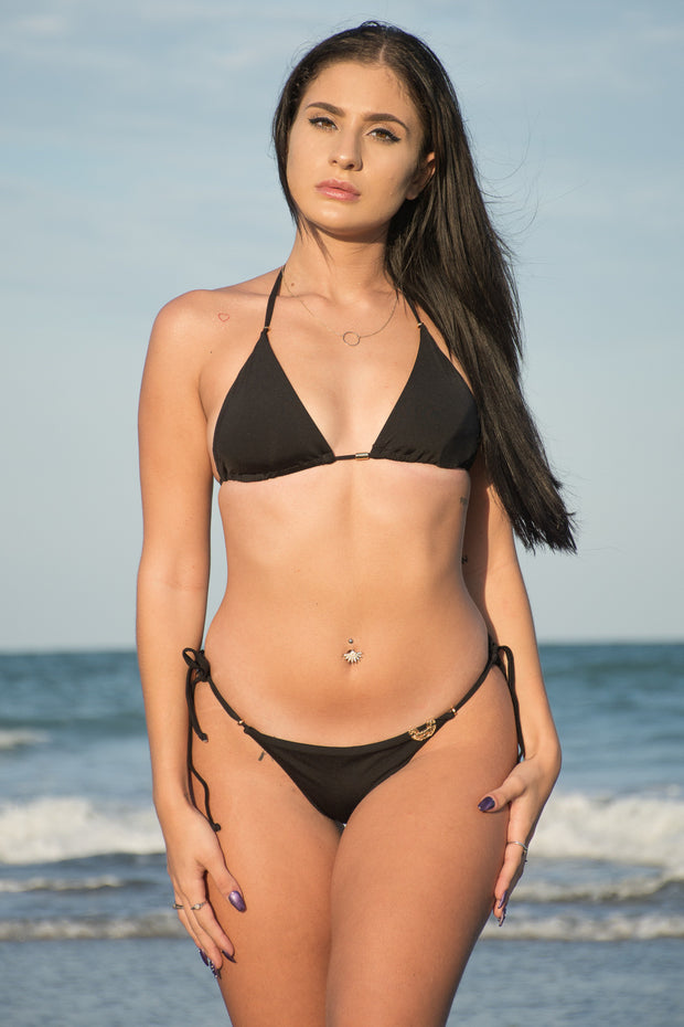 Midnight Black Bikini Tie Adjustable Bottom
