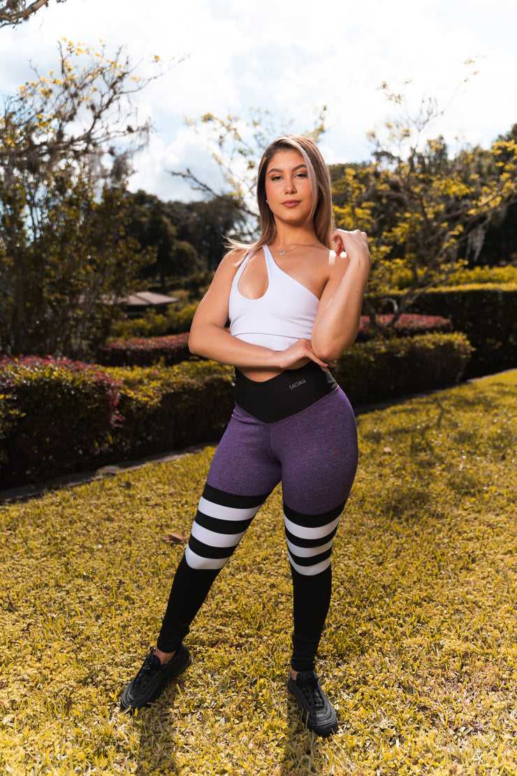 Purple and White Leggings