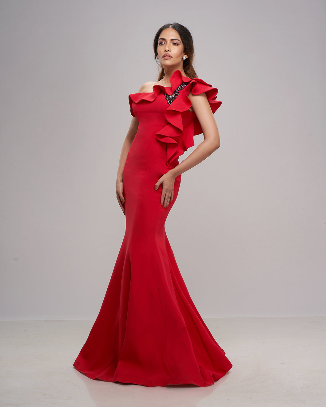The Ruffle Red Gown