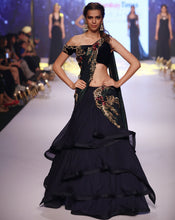 Load image into Gallery viewer, Midnight Blue Grecian Sari-Lehenga