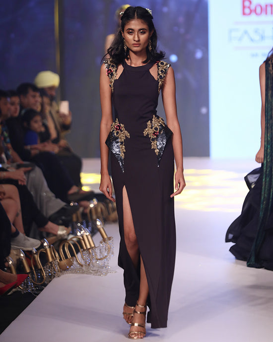 Midnight Blue Cocktail Gown - Archana Kochhar India