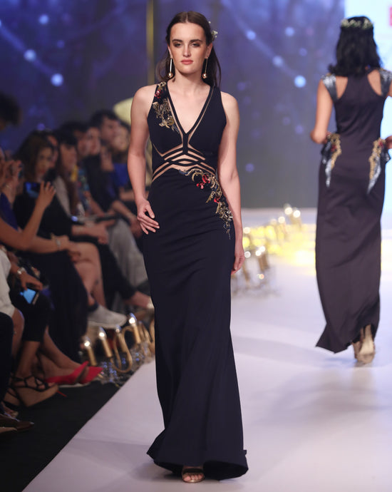 Midnight Blue Geometric Gown - Archana Kochhar India
