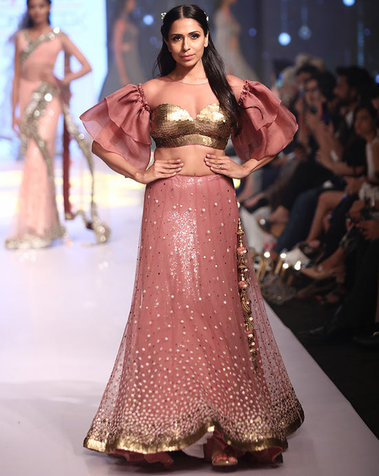Salmon Pink Lehenga - Archana Kochhar India
