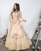 Load image into Gallery viewer, The Gold Feather Lehenga