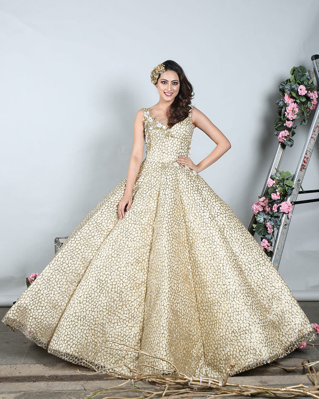 Gold Textured Ballgown - Archana Kochhar India