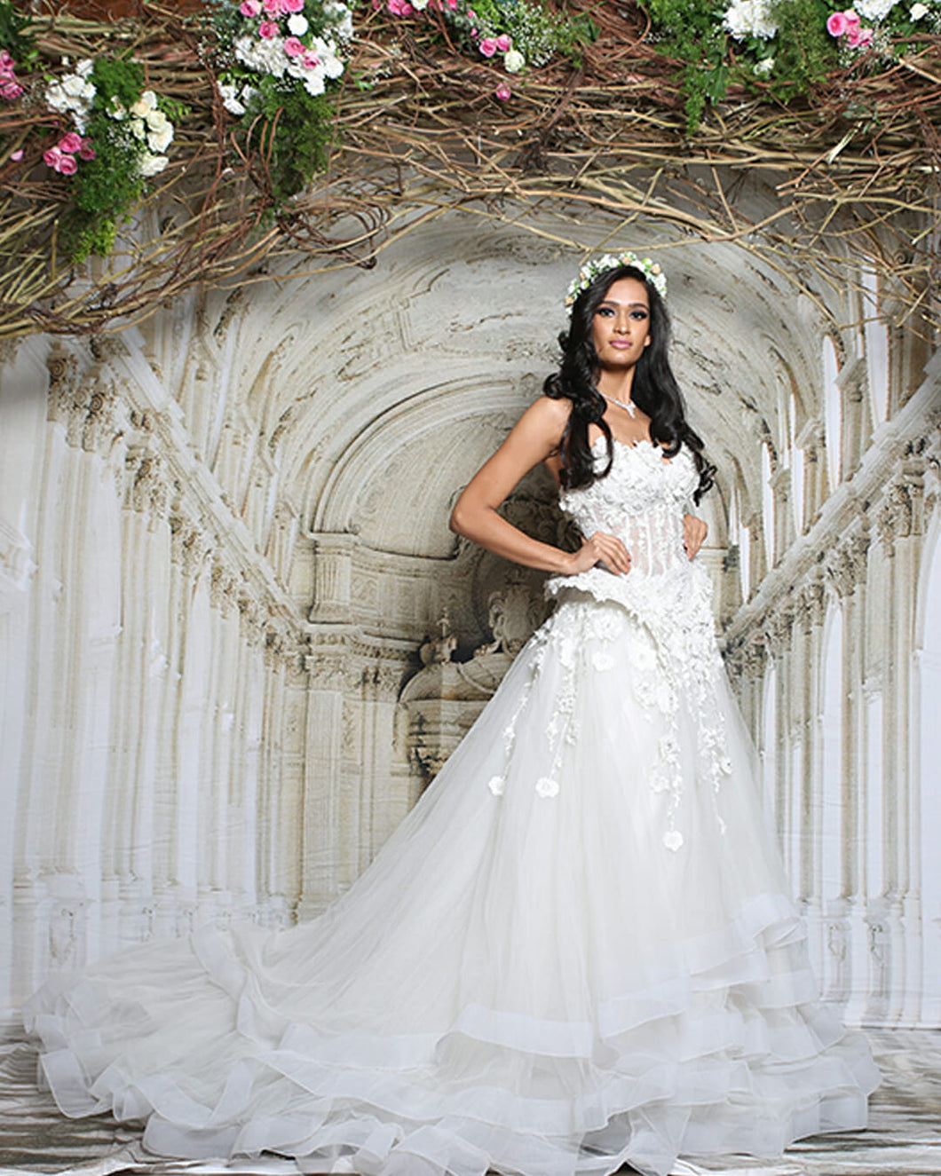 White Peplum Layered Gown - Archana Kochhar India