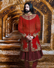 Load image into Gallery viewer, The Red Maharaja Sherwani