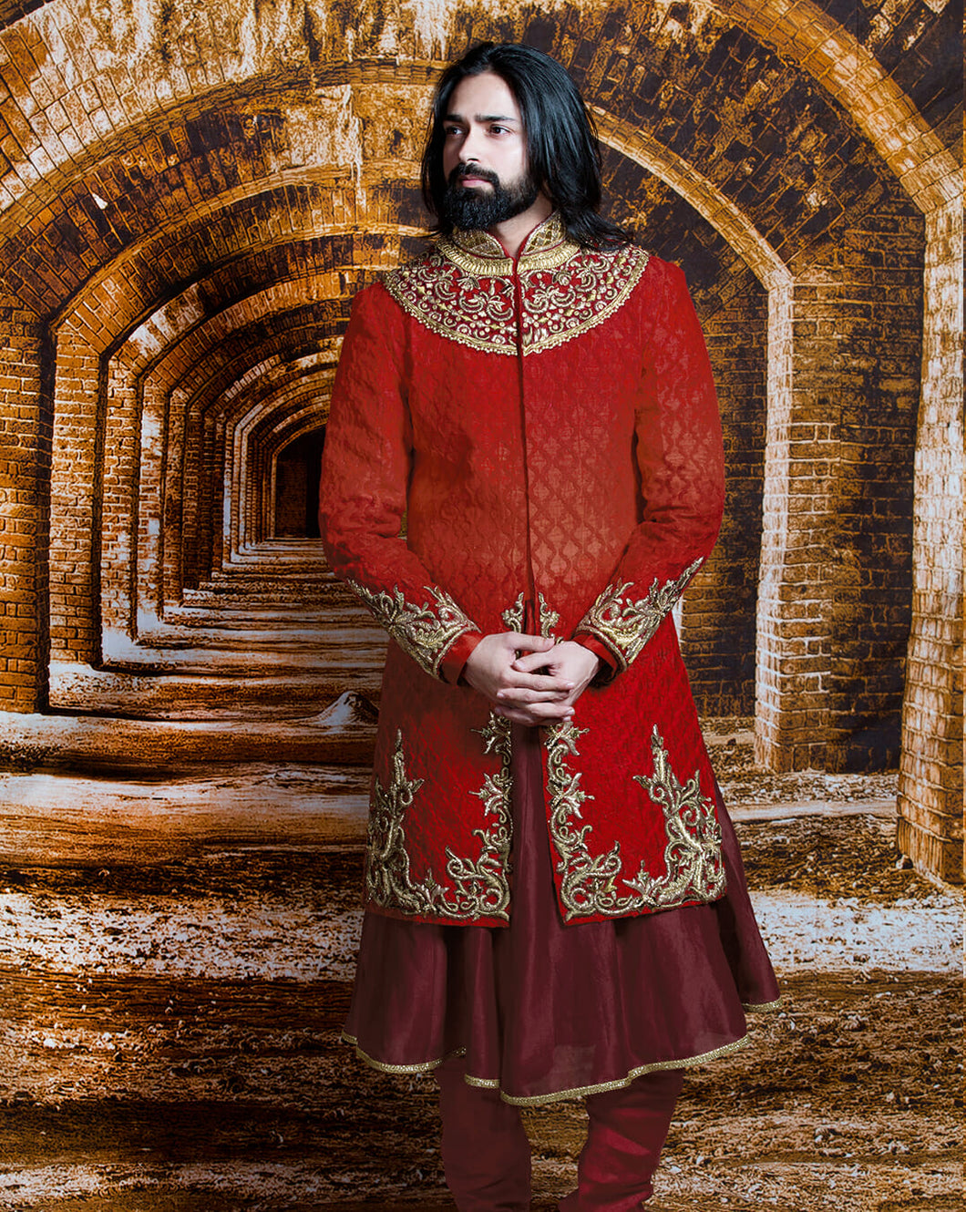 The Red Maharaja Sherwani