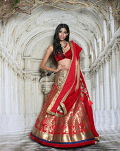 Load image into Gallery viewer, The Red Brocade Lehenga