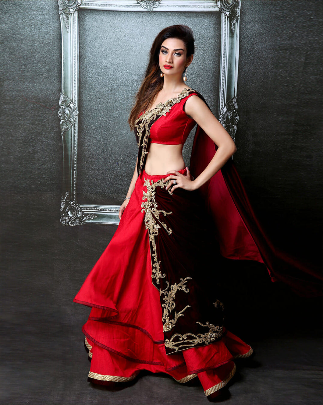 Red Layered Sari-Lehenga