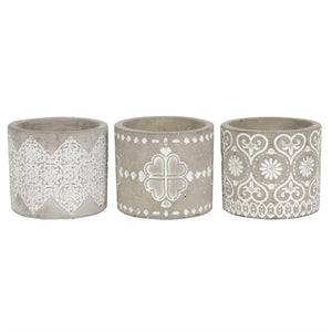 Gray Pattern Candle Holder