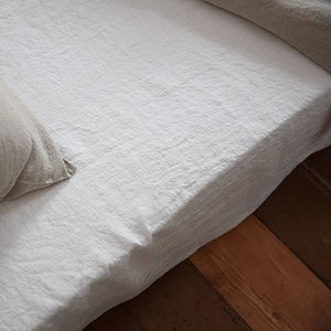 Ashley Meier Exclusive - Twin Stone  Washed Fitted Sheet Off White
