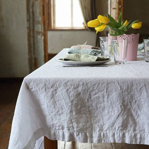 Ashley Meier exclusive - Stone Washed Tablecloth 67x126 Optical White