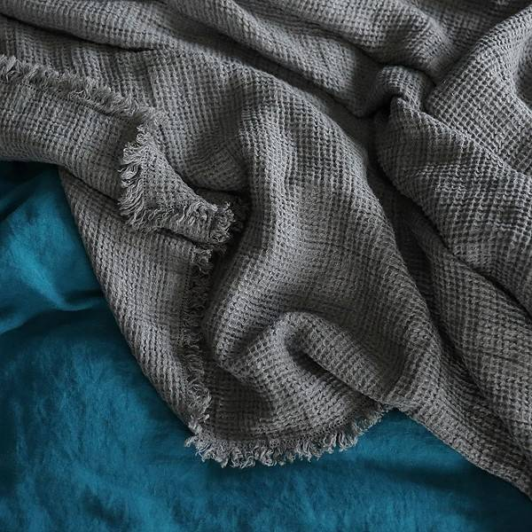 Washed Linen Throw 61x78 with Fringe - Steel Grey