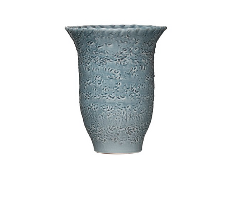 Debossed Terra-cotta Vase Distressed Blu