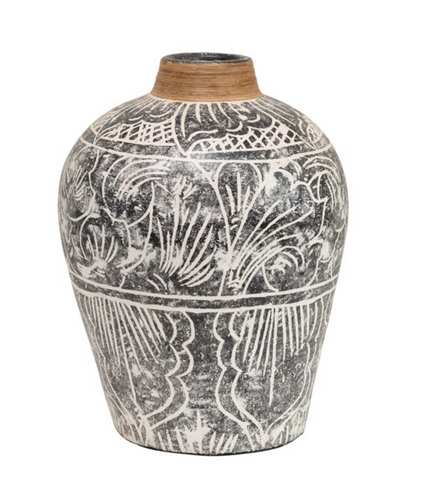 Hand-Painted Terra-cotta Vase w/ Banana Leaf Rim, Black & White