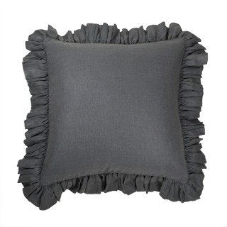 "Savannah  Sham in Charcoal,  24"" x 24"", with insert"
