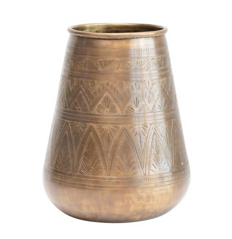 Debossed Metal Vase Antique Brass Finish