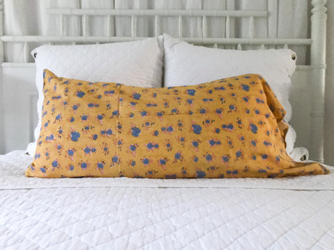 Blockprint King Pillowcase in Golden Button Rose