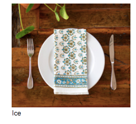 "Blockprinted napkin in ""Ice"""