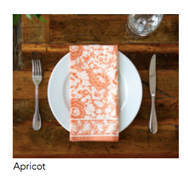 "Blockprinted napkin in ""Apricot"""