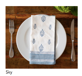 "Blockprinted napkin in ""Sky"""
