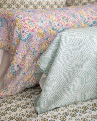 "Standard pillowcase in ""triangles"" block print"