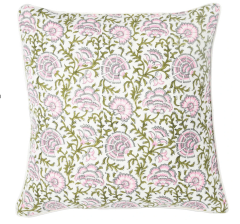 "Fall 2020 Indian Blockprint pillow - Indian Ivy - Olive and Pink - 22"" square"