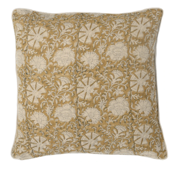 "Fall 2020 Indian Blockprint pillow - Indian Ivy - Mustard on Natural - 22"" square"