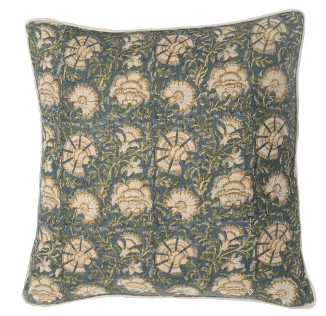 "Fall 2020 Indian Blockprint pillow - Indian Ivy - Olive and Mustard On Teal - 22"" square"