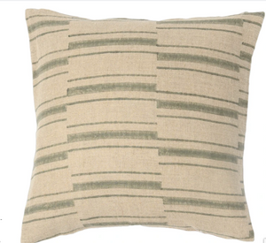 "Fall 2020 Indian Blockprint pillow - Olive Stripe - Olive and Natural - 22"" square"