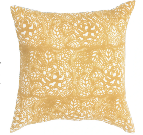 "Fall 2020 Indian Blockprint pillow - Mustard Flower  - 22"" square"