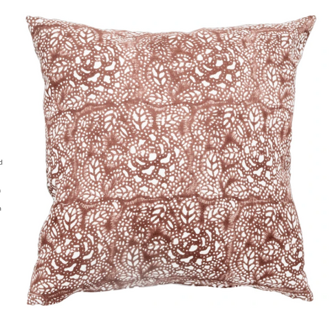 "Fall 2020 Indian Blockprint pillow - Saffron Flower  - 22"" square"