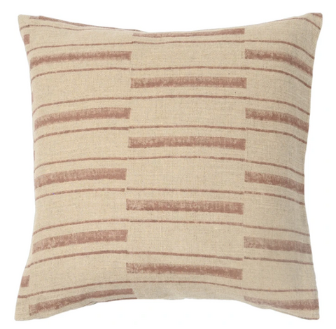 "Fall 2020 Indian Blockprint pillow - Saffron Stripe on Natural - 22"" square"