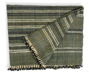 Handwoven Wool Throw in Charcoal - Also Available as a Blanket