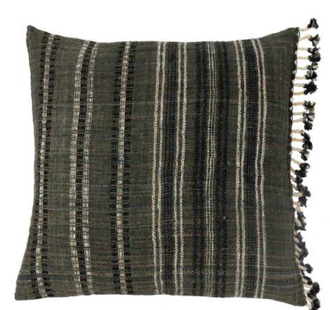 "Handloomed 22"" or lumbar pillow cover in Charcoal with fringe"