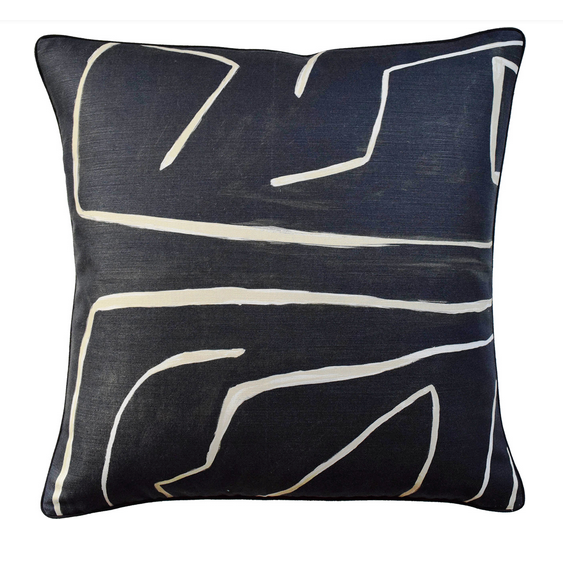 Graffito Dec Pillow in Onyx and Beige -  Feather Insert Included