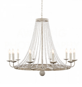 Naples Medium Chandelier in White/Distressed Grey Finish
