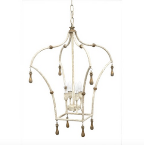 Wesley Lantern with French White and Gold Accented Finish