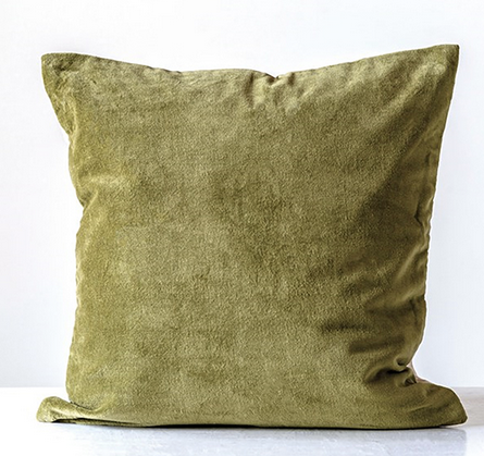 "Olive Green Velvet Pillow cover - 20"" square"