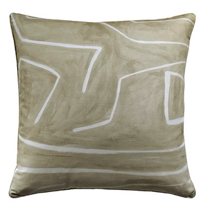 Graffito Dec Pillow in Beige - Feather Insert Included