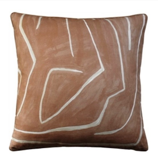 Graffito Dec Pillow in Salmon - Feather Insert Included