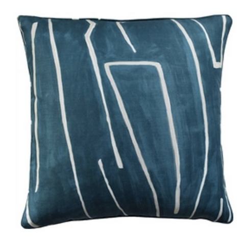 Graffito Dec Pillow in Teal and Pearl Feather Insert Included