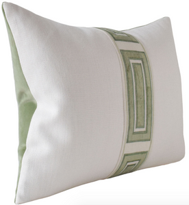 Giorgio Linen Ingot Tape Pillow in Green