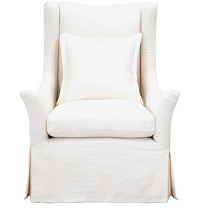 Whitney Swivel - White Slipcovered Wing Chair