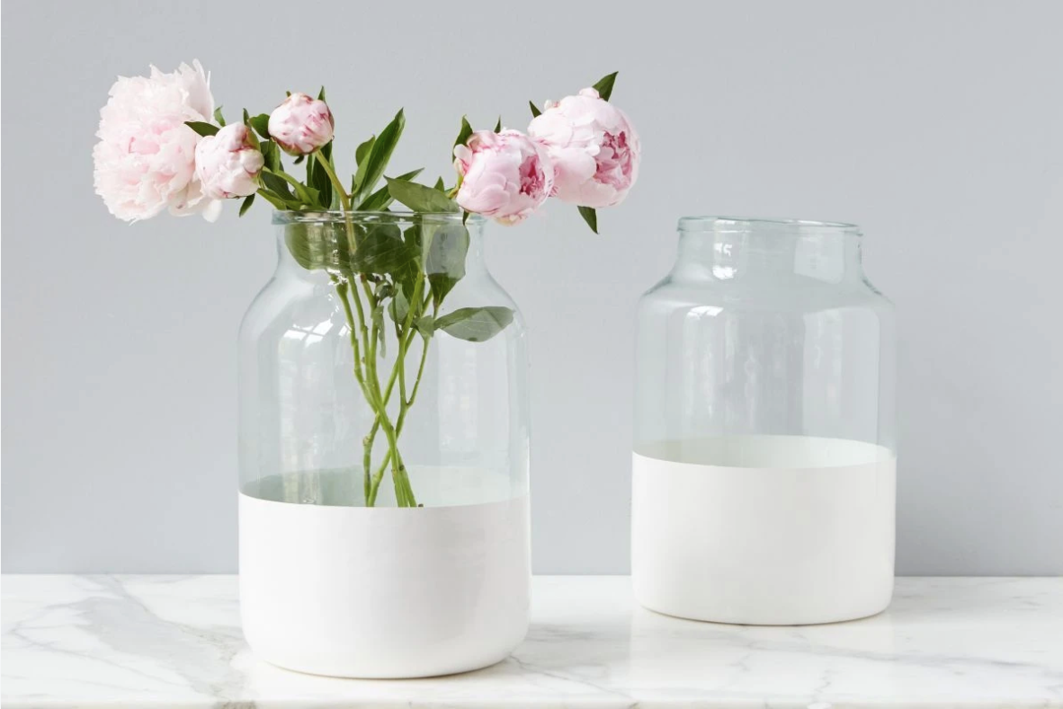 White Colorblock Mason Jar
