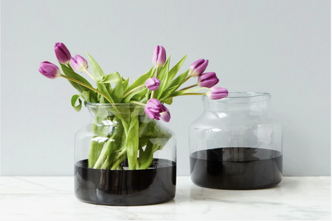 Black Colorblock Flower Vase