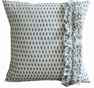 Amelie Deco Pillow Cover with Side Ruffle in Indigo