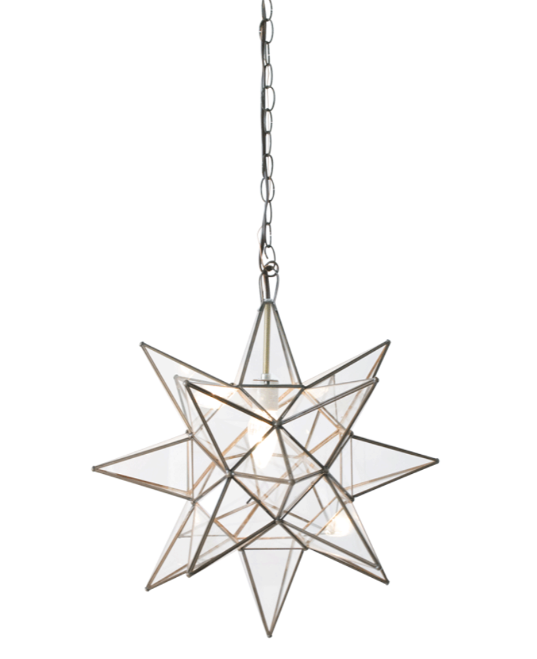 Grey Moravian Star Pendant Chandelier