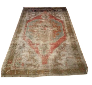 "Faded Multicolored Vintage Oushak Rug 4'5"" x 7'3"""